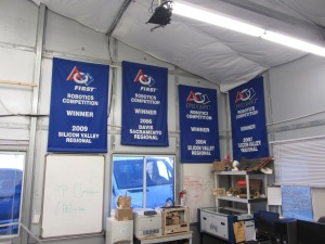 They Can Do That!: Casually displayed in a corner—amidst 3-D printers, laser cutters, and other technology—first place robotics competition banners exhibit evidence of Athenian student's achievements.