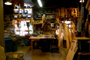 The workshop at the Eli Whitney Museum (not unlike my friend's garage), where staff believe in the serious business of tinkering.