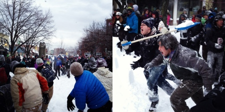 After a while, every good Snow Day Maker Party turns into a giant community snowball war. Attack!