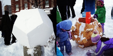 Makers from Artisan's Asylum taught the community to make giant geodesic snow balls at the Artisan's Asylum Snow Day Maker Party.