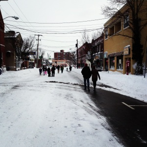 With a driving ban in effect, local residents walked through the streets to the Artisans' Asylum Snow Day Maker Party.