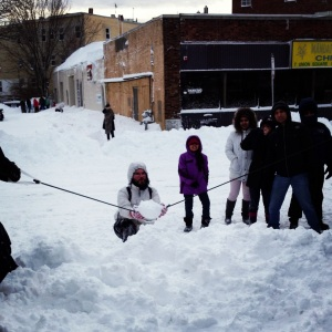 Colander + surgical tubing = giant snowball slingshot at the Artisan's Asylum Snow Day Maker Party.