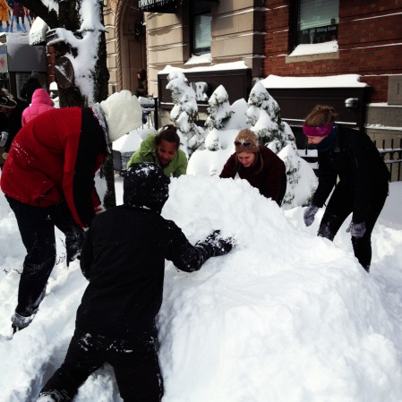 Teams of makers and non-makers alike came together to make stuff with snow at the Artisan's Asylum Snow Day Maker Party.