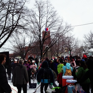 Music, dancing, hot chocolate—and even beach balls—were available in abundance at the Artisan's Asylum Snow Day Maker Party.