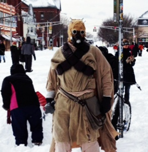 All sorts of characters turned up for the Artisan's Asylum Snow Day Maker Party. This Tusken Raider had just arrived from the desert planet of Tatooine.