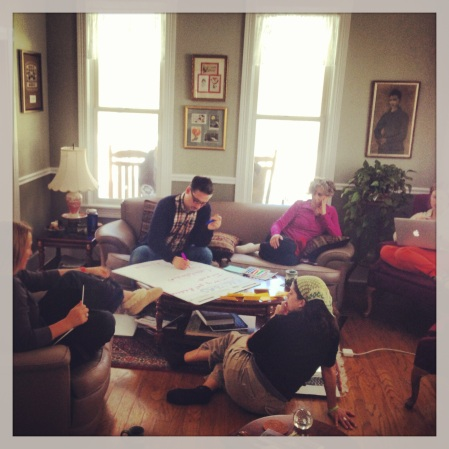 Members of the Agency by Design research team honing their research questions during a recent retreat in Vermont. Clockwise from center Edward P. Clapp, Shari Tishman, Jennifer Oxman Ryan, Jessica Ross, and Wendy Donner. Photo by Raquel Jimenez.