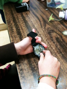 An elementary school student in Belinda NAME's class takes apart a watch to see how it ticks… literally.