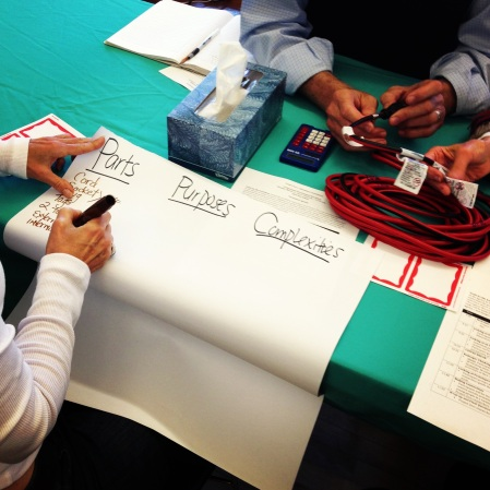 Park Day School teachers considered the parts, purposes, and complexities of a variety of household objects such as this extension cord, calculator, and box of tissues.