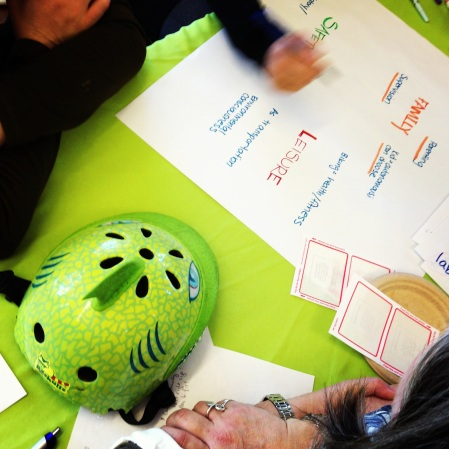 Park Day School teachers begin to consider a dinosaur-themed bicycle helmet from multiple users' perspectives.