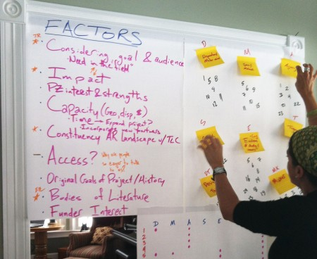 During a recent retreat, Agency by Design researchers used chart paper and Post-it notes to synthesize their data and formulate new guiding questions.