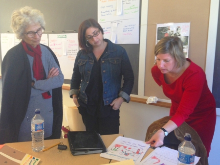 Members of the Temescal Learning Community look at student work with Project Zero researchers.