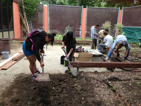 Students at Oakland International High School get their hands dirty redesigning a corner garden at their school.