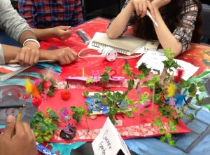 Oakland International High School students use a variety of materials to prototype a redesign of the garden at their school.