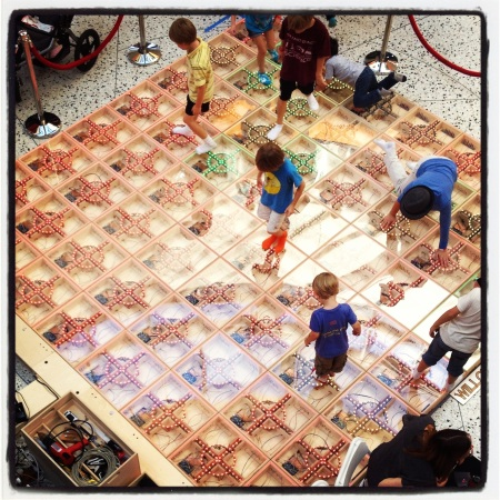 Kids light up the floor at the World Maker Faire.
