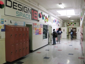 Signage at Claremont Middle School announces the school's Design Thinking and Making Lab.