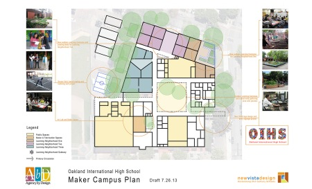 Maker Campus Plans, like this one designed with teachers and students at Oakland International High School, record a school's short- and long-term goals for making their campuses more maker-friendly.