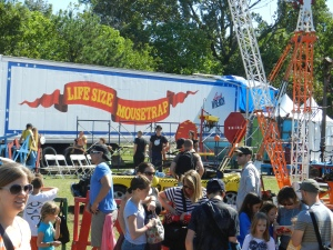 A whimsical example of domino causality: Life Size Mousetrap, World Maker Faire, New York 2013