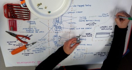 A workshop participant maps out the parts, purposes, and relationships in a light switch.