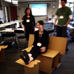 Chair, schmair. This participant group made a cardboard bench and accompanying footrest!