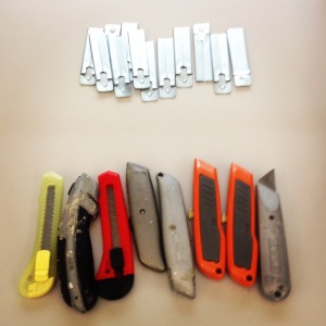 An assortment of boxcutters were our participants' tools of choice.