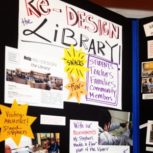 Student work from the library redesign project at Oakland International High School was a big hit at the OLC Celebration of Learning.