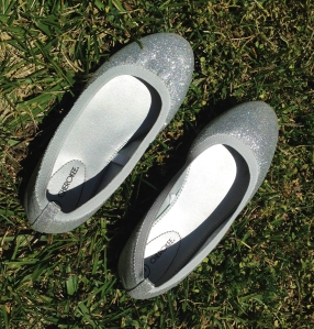 The offending flats. They're sparkly and cute, but not quite meant for the soccer field.