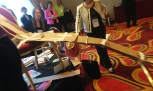 This hotel ballroom will never look the same. AEP participants testing their ball-drop contraptions.