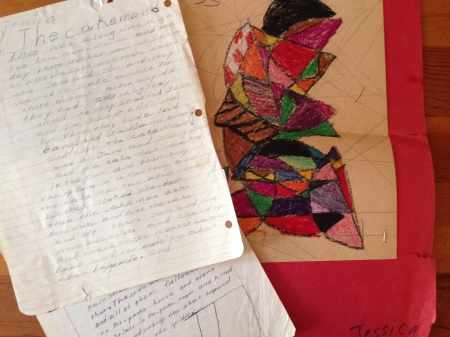 "As maker-education initiatives expand, how can we think differently about document student work? Pictured above, abstract art and creative writing samples from  Jessica Ross's  ""portfolio"" of work, saved by her mother."