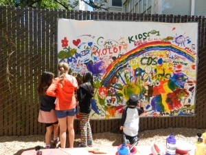 Mural artists at Children's Day School in San Francisco, CA.