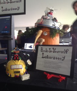 "The Build-It-Yourself Laboratory, an online platform dedicated to ""inspiring and guiding the next generation of builders"" had a playful and fun vegetable-rich display at the MIT Mini Maker Faire."
