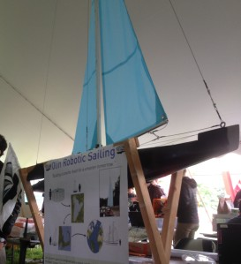 Student from Olin College of Engineering's Robotic Sailing Team were eager to talk about their autonomous robotic sailboat.