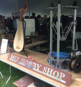 The MIT Hobby Shop had a bunch of beautiful hand craft and computer generated musical instruments on display at the MIT Mini Maker Faire.