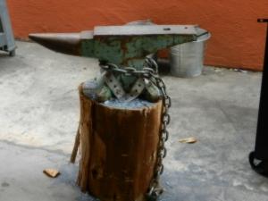 An anvil awaits the hammer strikes of emerging blacksmiths at East Bay School for Boys.